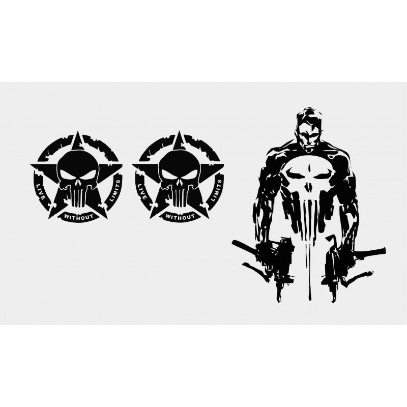 Комплект стикери за коли Punisher с два черепа