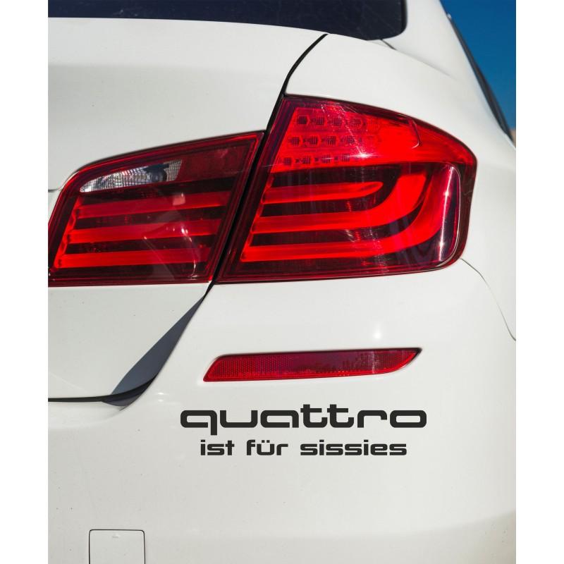 Забавен стикер за кола quattro ist fur sissies