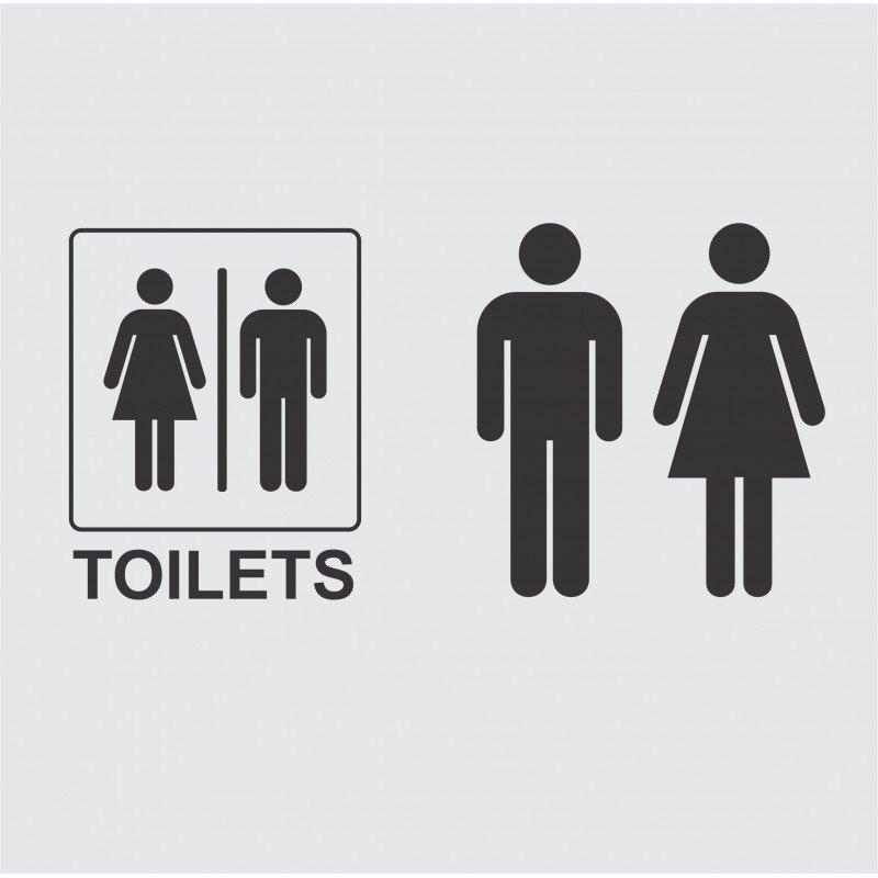 Комплект стикери за врата Toilet