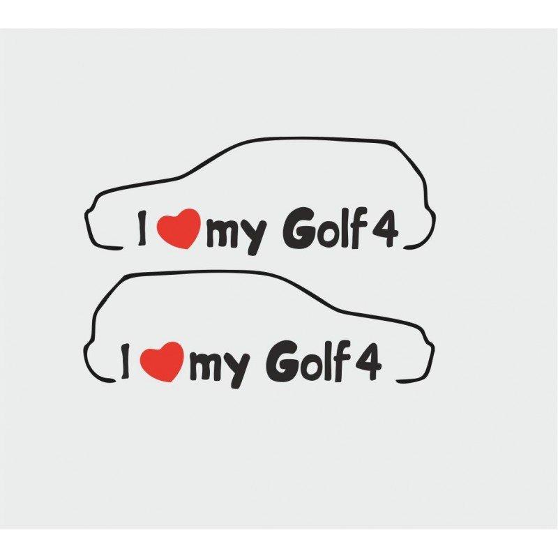Комплект стикери I love Golf 4