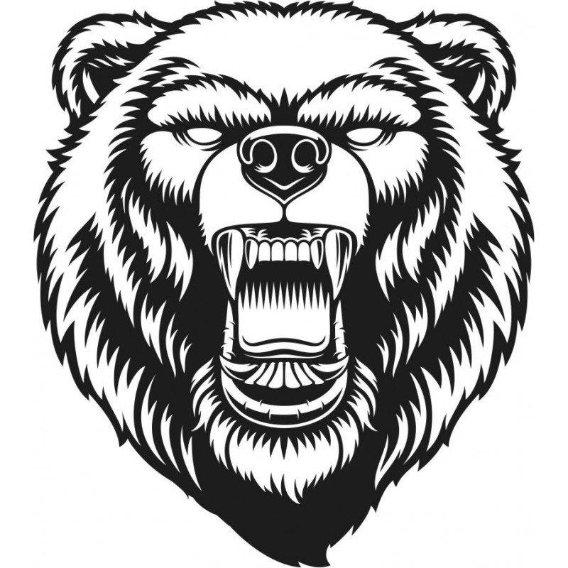 Стикер глава мечка