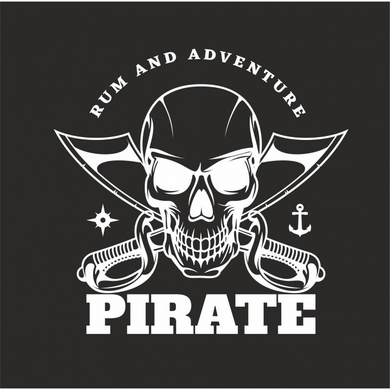 Стикер Пират, ром и приключения