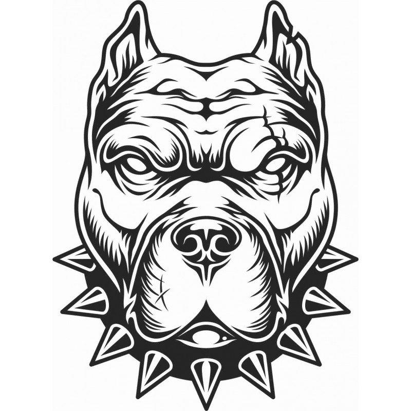 Стикер Глава на куче Питбул