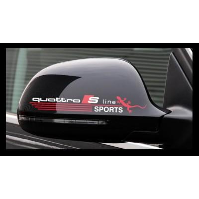 Стикер лепенка за кола, S line quattro sport, за страничен прозорец или огледало.