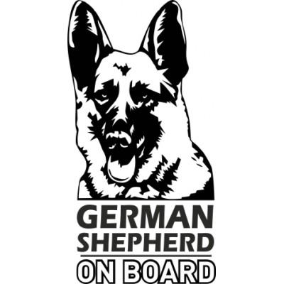 Немска овчарка в колата, стикер, лепенка