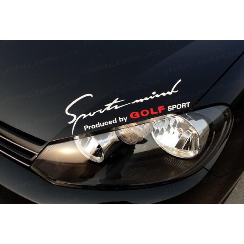 Дизайнерски стикер Sports Mind Produced by Golf Sports лепенка за автомобил Volkswagen VW Golf 4 5 6 GLX SE TDI GTI