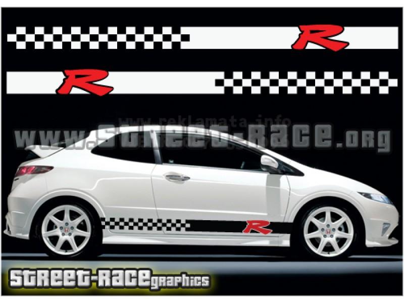 R racing Honda civic  комплект състезателни ленти