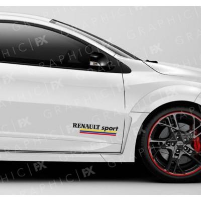 2 броя стикери за Рено, Renault Sport с три различни цветни ленти