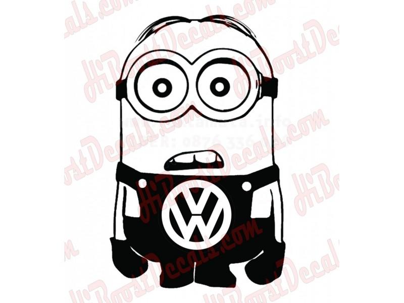 Забавен стикер на минион с лого на VW,  стикер, лепенка подходяща за всички модели на фолксваген VW