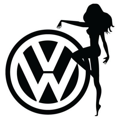 Дамата и лого на VW,  стикер, лепенка подходяща за всички модели на фолксваген VW