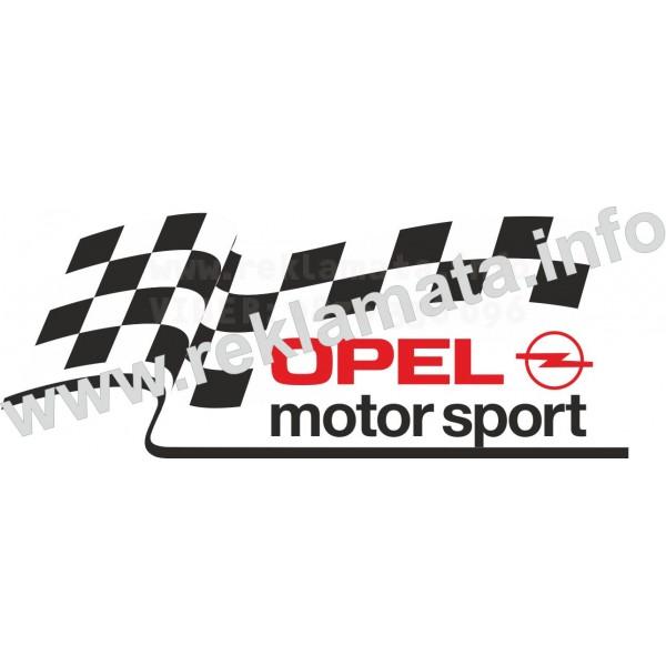 Стикер за Опел, тунинг, състезателно знаме, лого опел