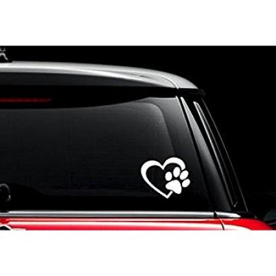 Лапичкa и сърце стикер за кола, лепенки за автомобил, животни