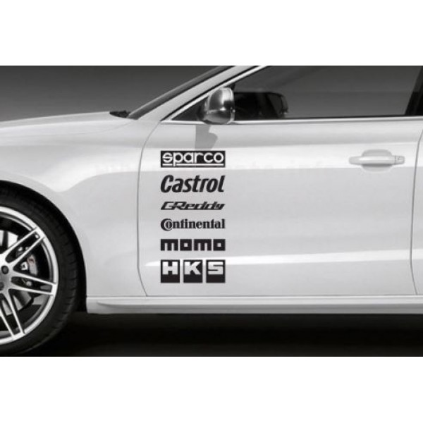 Шест лога на марки за страниците на колата Sparco, Castrol, Greddy,Continental, MOMO, HKS.