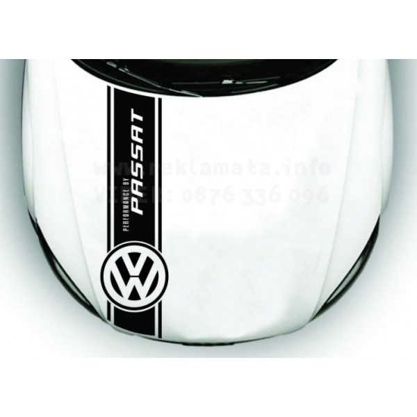 Дизайнерска лента за преден капак, минаваща през целия автомобил , VW passat, лого, лента