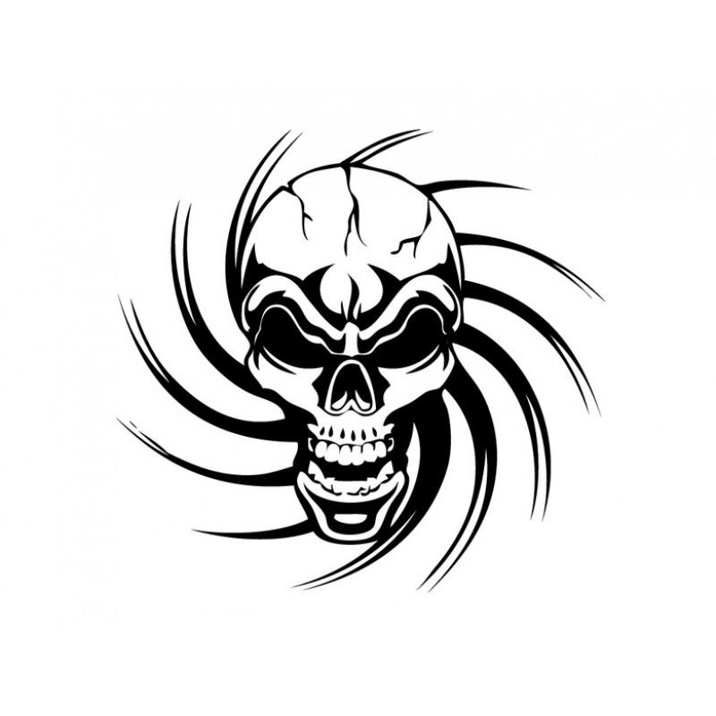 Трибал стикер , череп за преден капак или задно стъкло