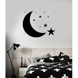 Луна и звезди , стикер за стена, Детска стая, Спалня, Всекидневна