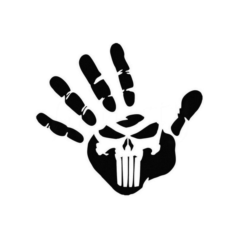 Стикер за автомобил, ръка, The punisher