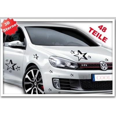 Сет от стикери за кола 3D  звезди