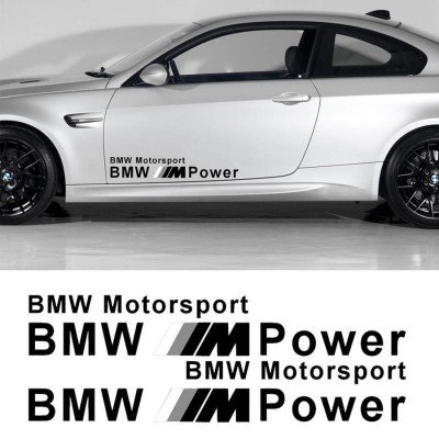 2 броя стикери BMW M POWER MOTOR SPORTS Черно и сиво