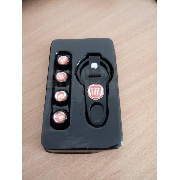 Стилен ключодържател за Фиат с 4 бр. капачки за винтил