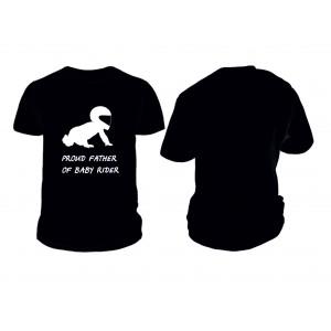 Черна памучна тениска със щампа на бебе моторист.