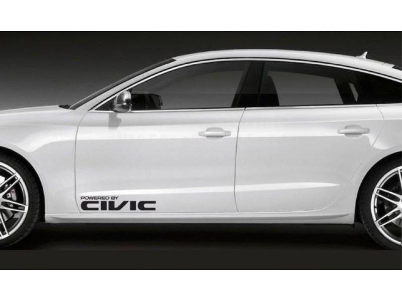 Два броя стикери за Хонда Powered by Civic