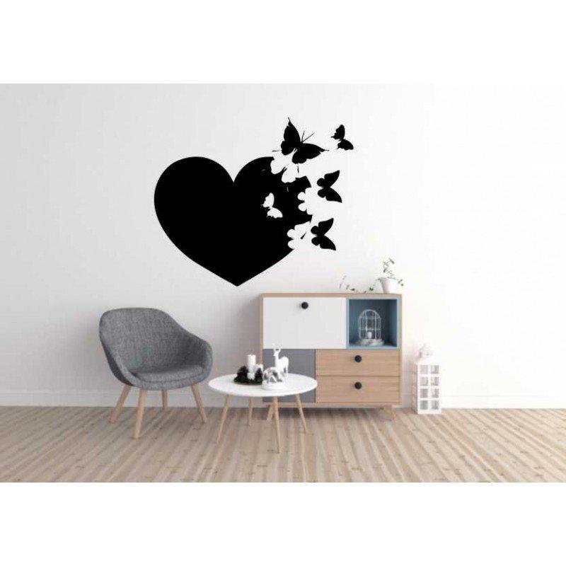 Стикер за стена Сърце и пеперуди