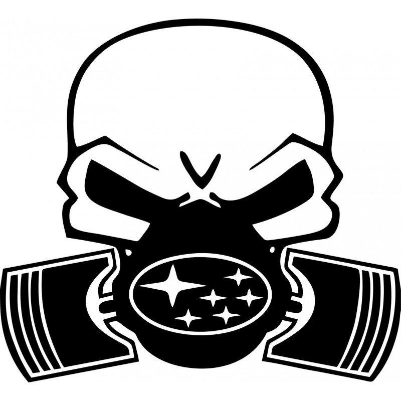 Череп с противогаз и логото на Субару стикер за кола