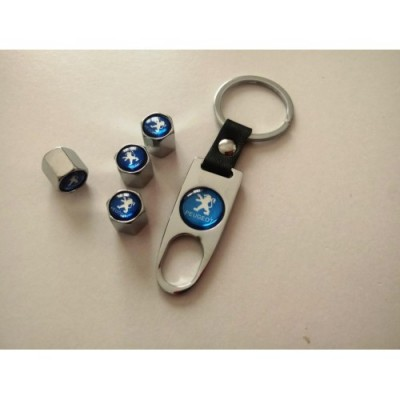 Ключодържател с 4 бр капачки за винтилите/ вентили Пежо/Peugeot- сребристо син цвят