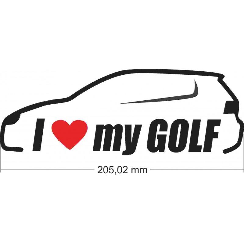 Стикер, лепенка  за автомобил, кола, мотор, компютър, лаптоп Обичам голф, I love my golf