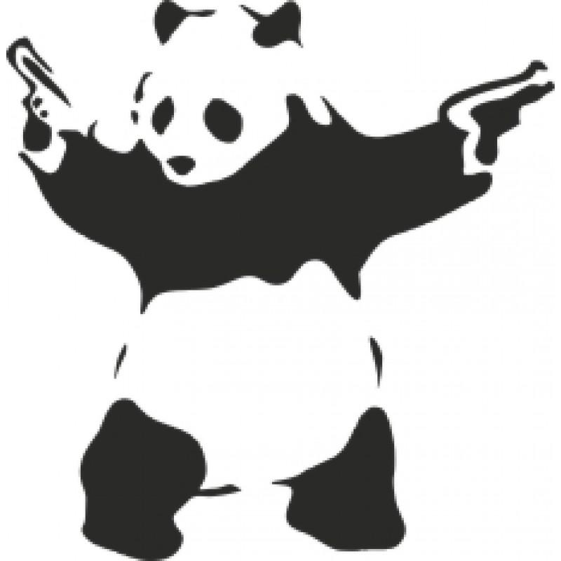 Стикер, лепенка за автомобил Панда с пистолет, BAD ASS PANDA
