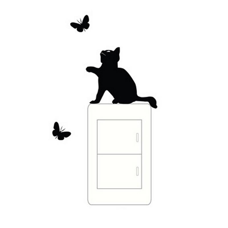 Декорация, стикер, лепенка за стени или лаптоп, коте гони пеперуди