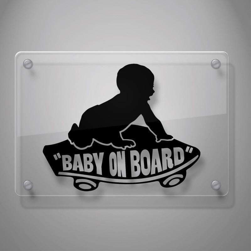 Забавен стикер БЕБЕ на скейтборд