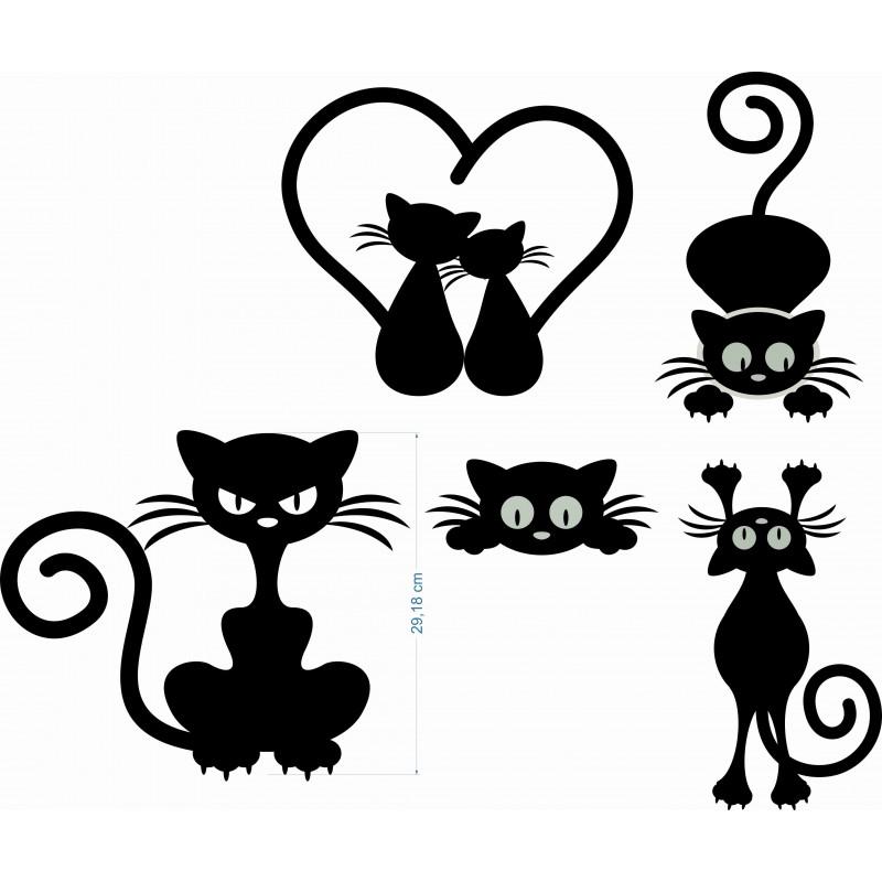 Сет от котета стикери за стена от пвц фолио