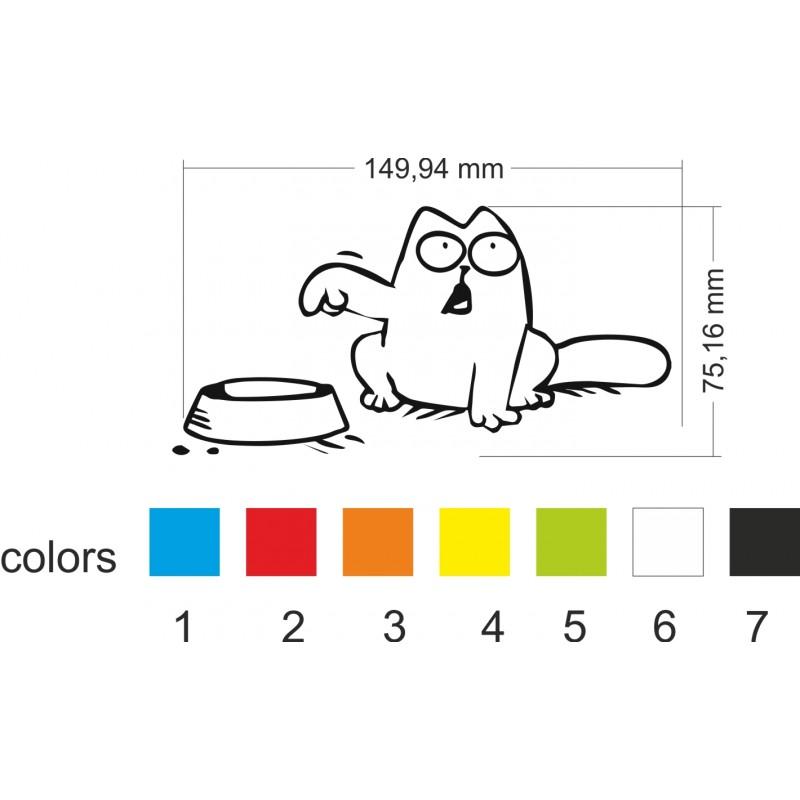 Стикер за кола Simon cat ,Котето с паничката, Капачка на резервоар