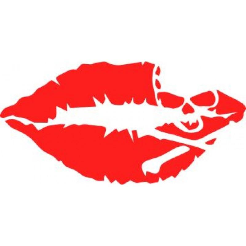 Целувка с череп, стикер от фолио за капачка на резервоар или странично огледало